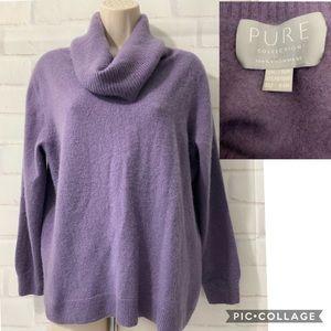 PURE COLLECTION 100% Cashmere Cowl Neck Lavender